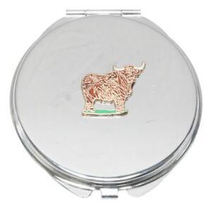 Highland Cow Enamel Compact Mirror Handbag Gift With Free Engraving 178