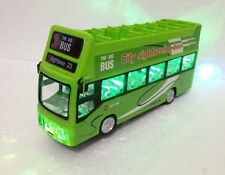 London Double Decker Tourist Bump & Go Green Bus -Sound &LED Light Souvenir Toy