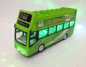 London Double Decker Tourist Bump & Go Green Bus -Sound &LED Light Souvenir Toy