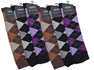6 Paar Damen Mädchen Kniestrümpfe Socken Karo Bunt Baumwolle 35-38 39-42