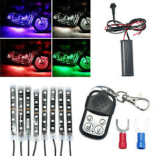 8PC Car Motorcycle ATV Strip RGB LED Remote Under Glow Neo Multi Color Light Kit