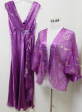 NEW VICTORIAS SECRET FULL LENGTH NIGHT GOWN w/ JACKET~WOMENS SMALL~PURPLE GOLD