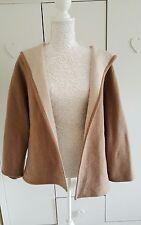 Pre-owned Zara farina d'avena Felpa con cappuccio lana Kimono Giacca Cappotto-Taglia Large L