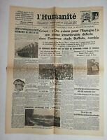 N666 La Une Du Journal L'humanité 26 août 1936 avions pour l'Espagne