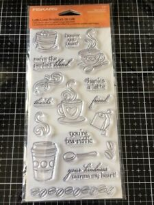 Fiscars Latte Love Clear Stamps New