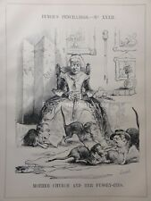 c1842 MOTHER CHURCH AND HER PUSSEY-ITES - PROTESTANTISM Punch Satirical Cartoons