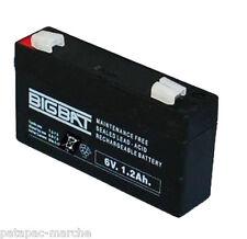 Batteria Ermetica Ricaricabile al Piombo BIGBAT 6V Volt 1,2Ah  connettore Faston
