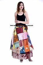 Vintage Silk Sari Magic Wrap Around Frill Skirts Dress Indian Patchwork Skirt