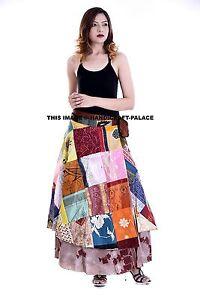 Vintage Silk Sari Magic Wrap Around Frill Skirts Dress Indian Patchwork Skirt