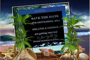 PERSONALISED BEACH WEDDING SAVE THE DATE CARDS WITH MAGNET STRIPS