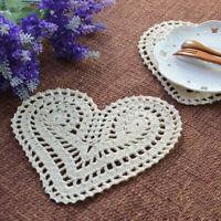 4Pcs Vintage Cotton Hand Crochet Lace Doily Doilies Mat Heart Placemat 15x20cm