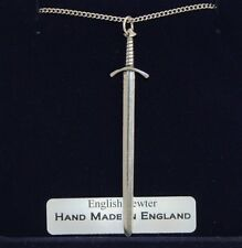 Medieval Battle Sword Necklace in Fine English Pewter, Handmade, Gift Boxed