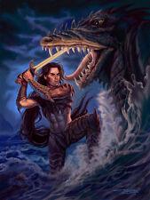 Signed Fantasy Male Pin-up Warrior & Dragon 13x17 Glossy Art Print Sandra Chang