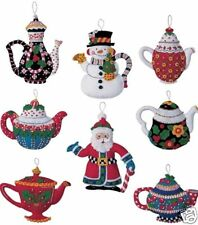 Bucilla Mary Engelbreit Santa Christmas Teapots Felt Ornaments Kit- 85018 Mint