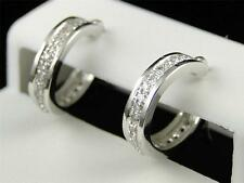10K Womens Ladies White Gold Rounnd Cut Diamond Pave Hoops Earrings