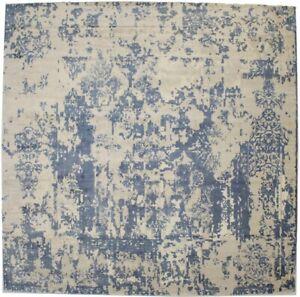 Modern Distressed Floral Design 9X9 Hand-Loomed Square Rug Wool Decor Carpet