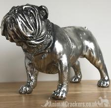 More details for large 26cm silver bulldog ornament sculpture figurine decoration dog lover gift