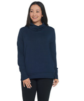 AnyBody Loungewear Plush Terry Cowl-Neck Top Color Navy Size Large