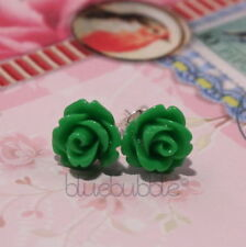 Emerald Silver Plated Stud Costume Earrings