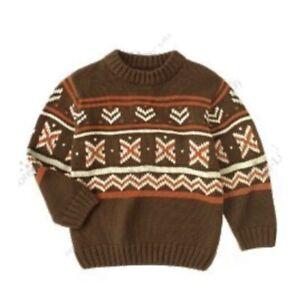 Boys Gymboree Winter Ranch Brown Orange Fair Isle Nordic Knit Sweater 6 Vintage