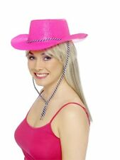 PINK COWBOY GLITTER HAT LADIES HEN NGHT FANCY DRESS ACCESSORY COWGIRL HAT