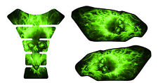 Motorcycle Tank Pad Side Set 3D Gel Exploding Skull Green Protector Side Guard
