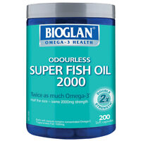 Bioglan Odourless Super Fish Oil 2000mg 200 Capsules Half the Size Same Strength