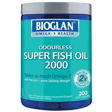 Bioglan Odourless Super Fish Oil 2000mg 200 Capsules Half the Size Same Strength