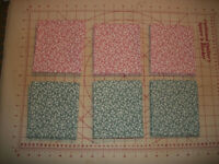 """White Vines on Pink & Green~~ 6 Fat Quarters~~ 3 Each~ 18"""" X 21"""""""