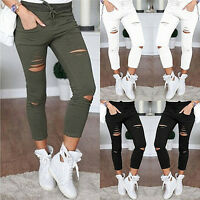 Fashion Women Ripped Holes Capri-pants Pencil High Waist Pants Skinny Trouser BD