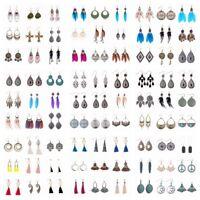 Women's Fashion Vintage Bohemian Boho Multi Style Feather Tassel Hook Earrings