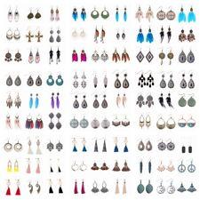Wholesale Lot 100 Pcs Women Bohemian Feather Alloy Tassel Multi-color Earrings