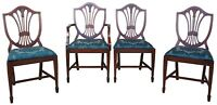 4 Antique Mahogany Sheraton Style Hepplewhite Shield Back Side Dining Chairs