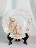 HAVILAND & CO. LIMOGES FRANCE ANTIQUE PINK FLOWER PLATE HANDPAINTED.