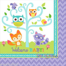 BABY SHOWER Woodland Welcome LUNCH NAPKINS (16) ~ Party Supplies Serviettes