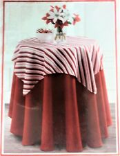 """NIP B. Mills 70"""" Round Christmas Tablecloth, 36"""" Topper, Red/White Candy Stripes"""