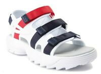 Fila Disruptor Size 9 Women's Sandals White Red Blue Platform Strap NIB New