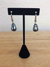 Genuine Agatha Earrings Silver Tone w/ Dark Grey Drop Faux Pearl  '90's Pierce