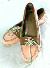 Sperry Top Sider Women's Size 10-Pink & Plaid Patent Leather Boat Shoes Loafers