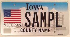 Iowa U.S. VETERAN license plate sample Military Navy USMC Marines Army Vet  War