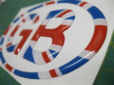 1 GB OVAL UK  FLAG STYLE DOME CAR STICKER 130mm X 72mm