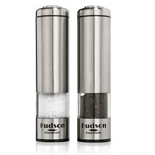 Hudson Electric Salt and Pepper Grinder Set - Stainless Steel with Ceramic Blade