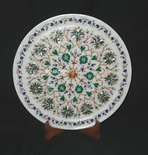 "12"" Round Marble Plate Marquetry Gemstones Floral Pietra Dura Inlay Home Decor"