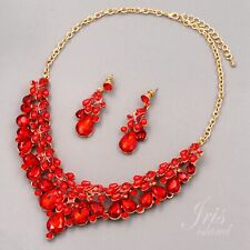 Women Ruby Red Pearl Crystal Jewelry Set Necklace Earrings Gold 456 Christmas