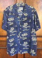 Howie Made in Hawaii Blue Palm Tree Surf Canoe Hawaiian Shirt Men's Sz L