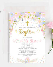 For girls christening baptism greeting cards invitations ebay pastel floral baptism invitation pink gold confetti christening invite communion m4hsunfo
