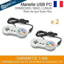 2 MANETTES CONTROLEUR JEU USB GAMEPAD RETRO TYPE SNES SUPER NES PC WINDOWS MAC