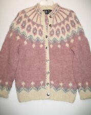 Alva Knit Vintage 100%  Wool Cardigan  silver buttons Made in Iceland Sz M