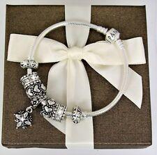 Authetic Pandora Charm Bracelet Silver Love Heart European Beads 7.5 Gitt New