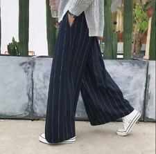 Men Vintage Stripe Wide Leg Pants Linen Blend Straight Trouser Ankle Length Pant